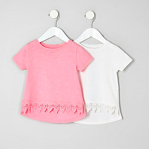 Mini girls pink crochet hem T-shirt multipack