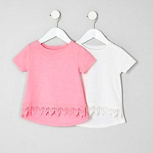 Rosa Häkel-T-Shirt im Multipack