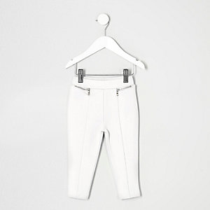 Mini girls white ponte leggings