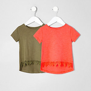 Mini girls khaki crochet T-shirt multipack