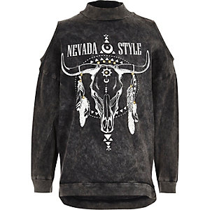 Girls grey navajo cold shoulder sweatshirt