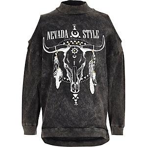 Navajo-Sweatshirt mit Schulterausschnitten