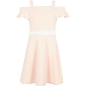 Girls bardot crochet trim dress
