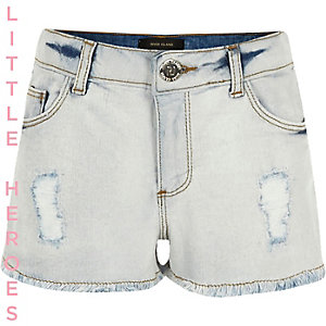 Girls blue ripped brooch denim shorts