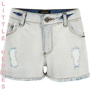 Short en jean bleu clair déchiré pour fille