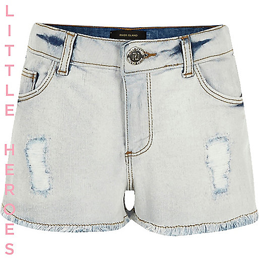 Girls blue ripped brooch denim shorts