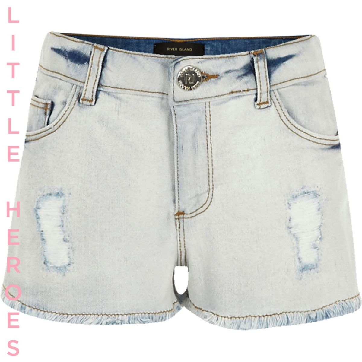short en jean bleu clair d chir pour fille shorts fille. Black Bedroom Furniture Sets. Home Design Ideas