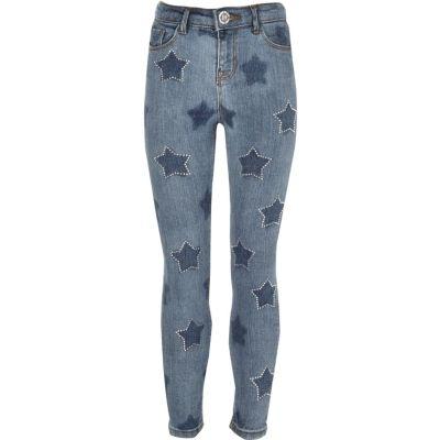 Amelie Blauwe superskinny jeans met sterren voor meisjes