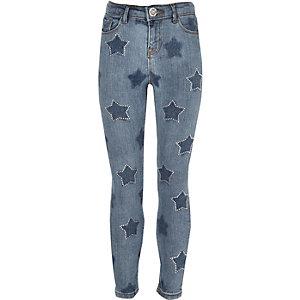 Amelie - Blauwe superskinny jeans met sterren voor meisjes