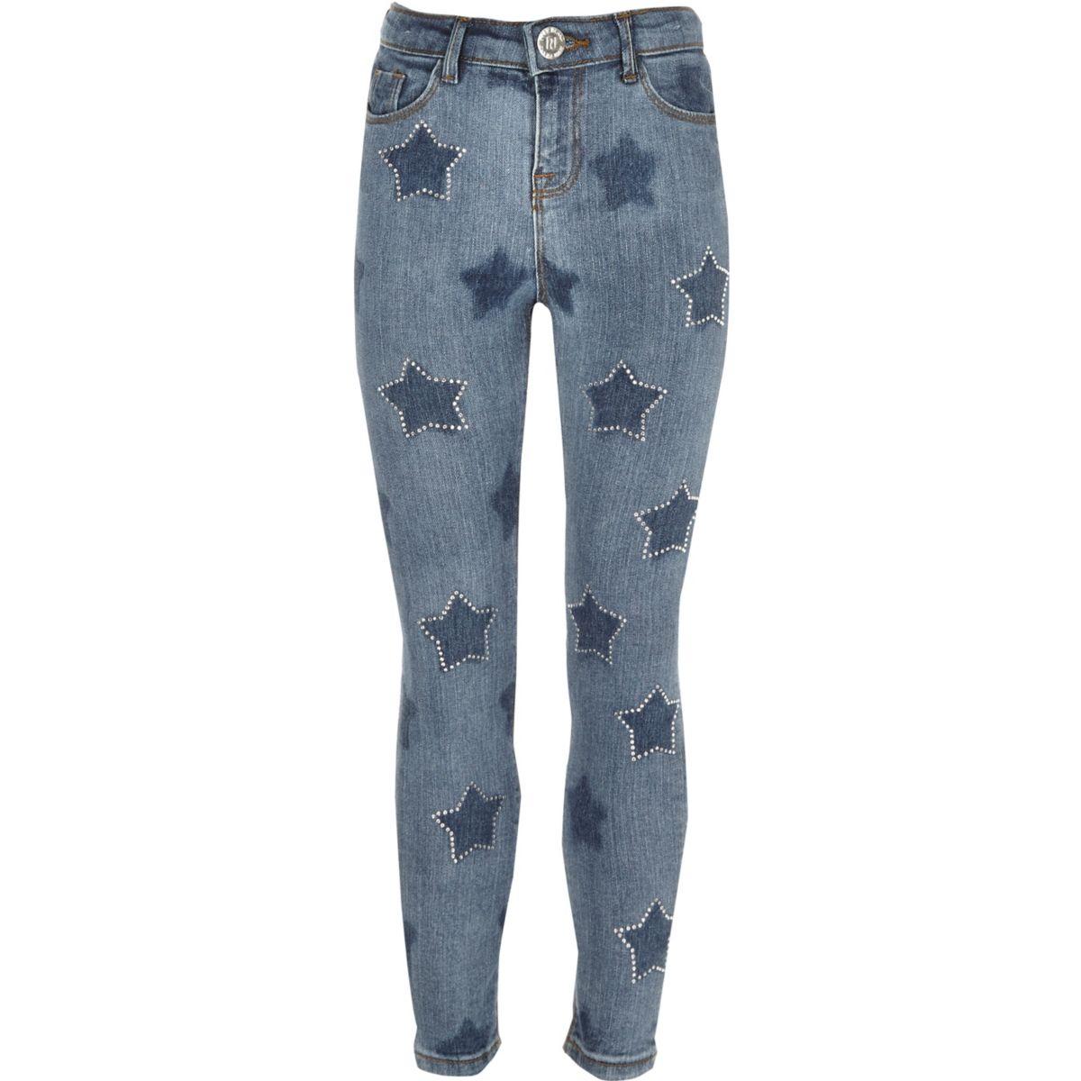 Amelie – Blaue Skinny Jeans mit Stern