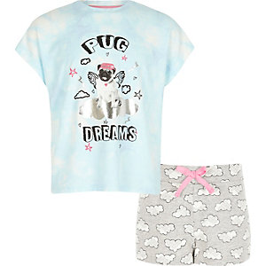 Girls light blue pug print pajama set