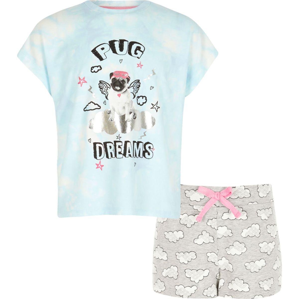 Girls light blue pug print pajama set
