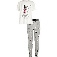 Girls cream pug pajama set