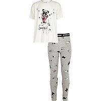 Ensemble de pyjama motif carlin crème pour fille