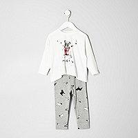 Mini girls cream pug pajamas set