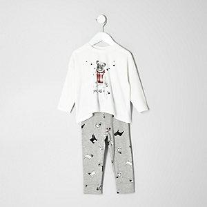 Pyjamaset in Creme mit Hundemotiv