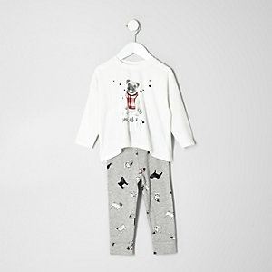 Mini girls cream pug pajamas set