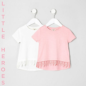 Mini girls white crochet T-shirt multipack