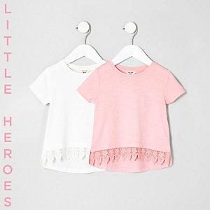 Lot de deux t-shirts rose et blanc avec ourlet au crochet mini fille