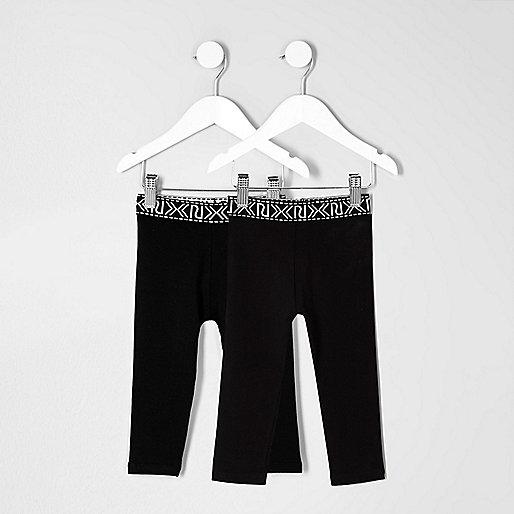 Mini girls black branded leggings pack