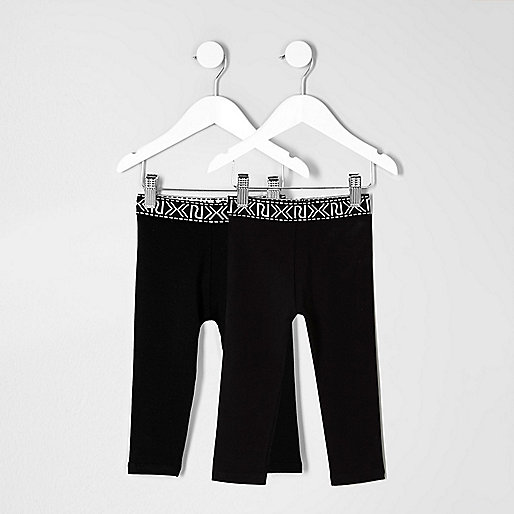 Mini girls black branded leggings pack