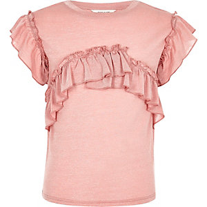 Girls pink marl frill T-shirt