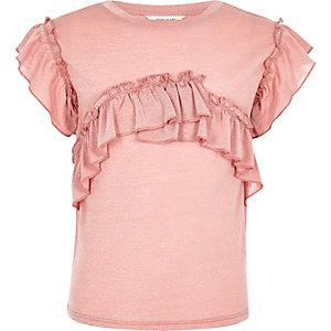 T-shirt rose chiné à volant pour fille