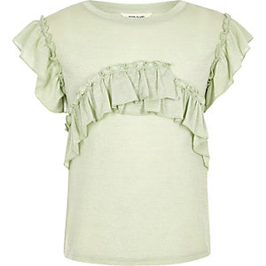 Girls green marl frill T-shirt