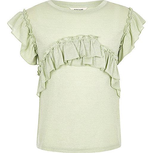 Girls green sparkle frill T-shirt