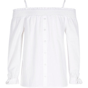 Girls white long sleeve bardot top