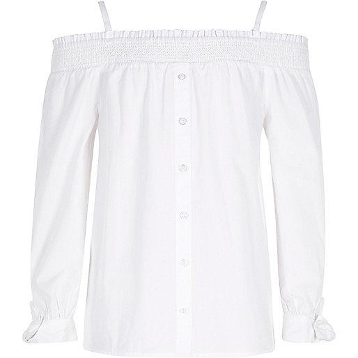 Girls white long sleeve bardot top