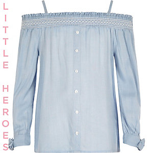 Girls blue bardot tie sleeve top