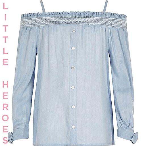 Girls blue bardot tie sleeve top