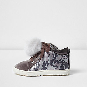 Mini pink girls camo print high top sneakers