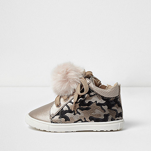 Mini girls cream camo print high top sneakers