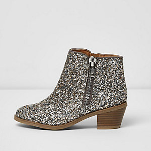 Girls silver glitter ankle boots
