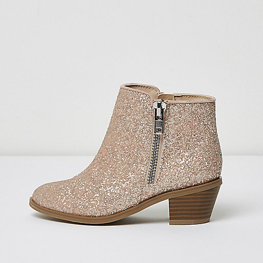 Girls pink glitter ankle boots