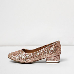 Girls rose gold glitter court shoes