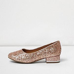 Girls rose gold glitter pumps