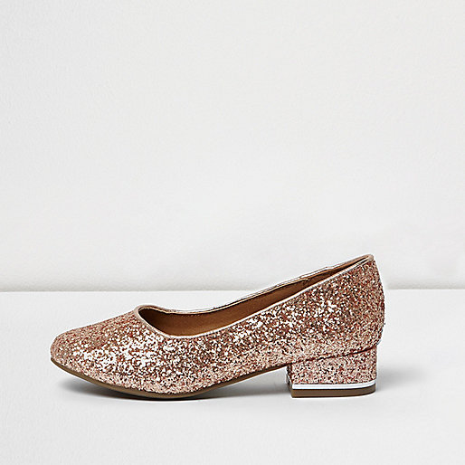 Girls rose gold glitter court shoes