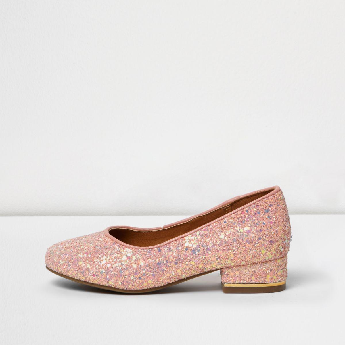 Girls pink glitter court shoes