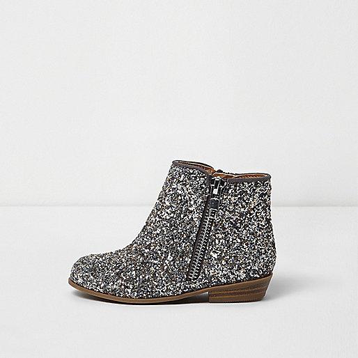 Mini girls silver glitter western ankle boots