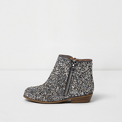 Mini girls silver glitter western ankle boots