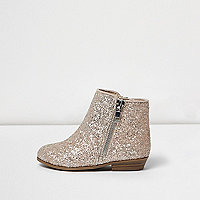 Mini girls pink glitter western ankle boots