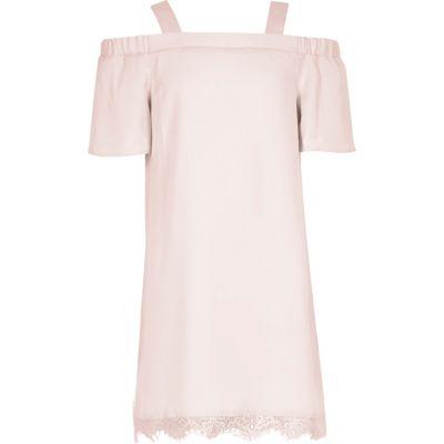 Roze schouderloze kanten jurk voor meisjes