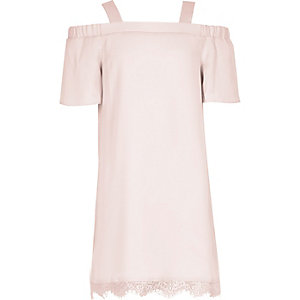 Girls pink cold shoulder lace dress