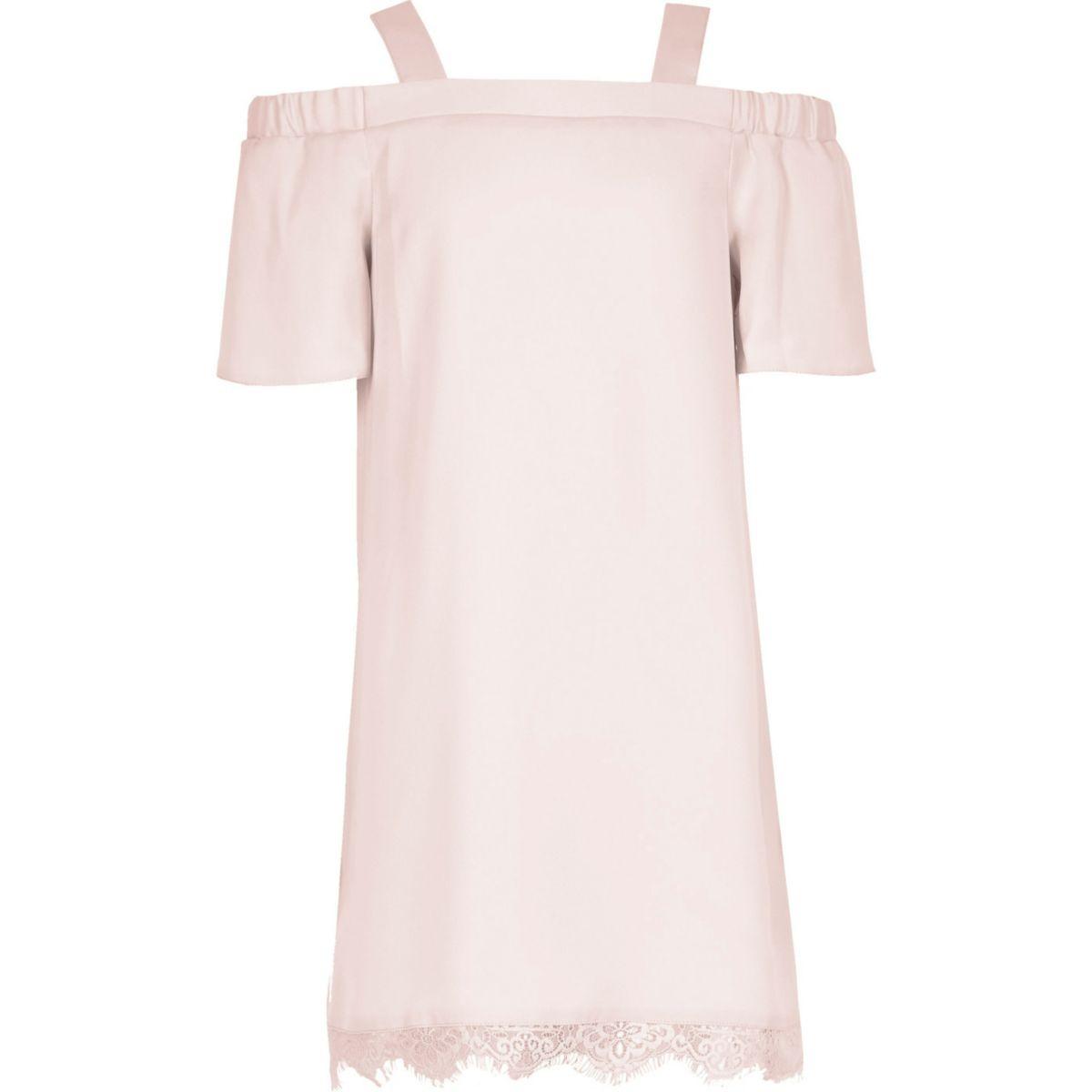 Girls pink cold shoulder lace dress