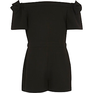 Girls black bow bardot romper
