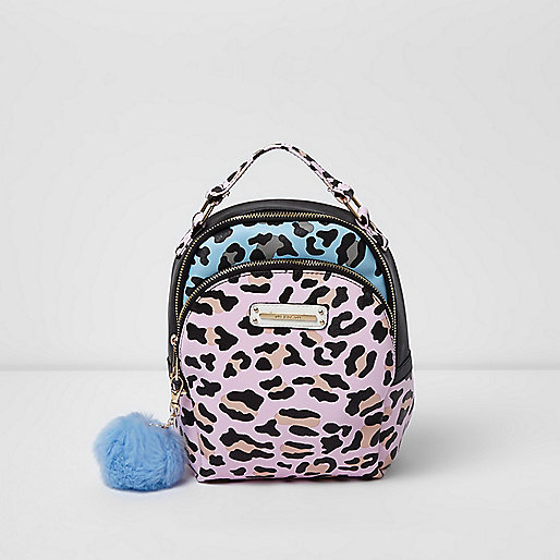 Girls pink leopard print pom pom backpack