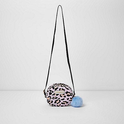 Girls pink leopard print crossbody bag